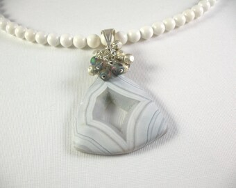 Quartz Druzy in Banded White Agate Pendant on MOP Necklace