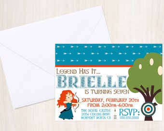 Brave {inspired} Invitation - Brave Party - Princess Merida - Brave party supplies