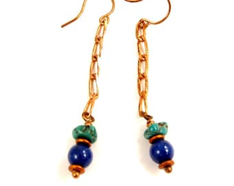 Turquoise and Copper Lapis Lazuli Earrings, Genuine Turquoise Gemstone Jewelry, Blue and Green Gift for Her, Fashion Accessory