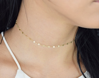Sequin Chain Choker, Chain Lace Choker, Tattoo Choker, Choker Necklace, Dainty Choker, Simple Choker, Gold Fill / Rose Gold Fill / Silver