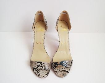 Christian Louboutin Shoes Size EU 38 US 7.5 Leather High Heels Snake Skin Open Toe High Heels Shoes Classic Christian Louboutin