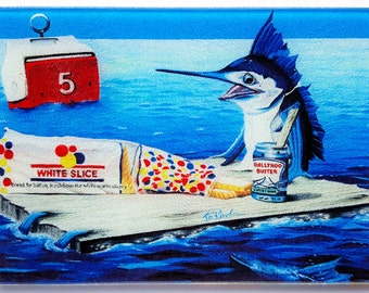 Lunch Time Sailfish Glass Cutting Board Serving Tray picnic Sportfishing humor Ballyhoo sandwich