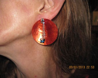 Sterling Silver Swarvoski Water Jug Studs w/ Orange Shell... 2 in 1 Earrings...one of a kind..1337h