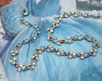 STUNNING BOGOFF Blue & Clear Crystal Rhinestones Necklace-Rhodium Silver-Flower Petal Chain-Art Deco- Wedding, Bridal, Wife Birthday gift