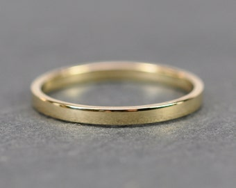 Yellow Gold Wedding Band, Simple Stacking Ring 18K Gold, 2mm, Recycled Eco Friendly, Sea Babe Jewelry