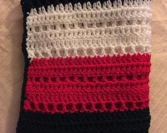 Hand Crochet Lapghan Blanket Christmas green red white stripe