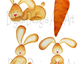 Watercolor bunny clipart, Rabbit clipart, Bunny clip art, Cute rabbit clipart,Bunny nursery art, Bunny illustration, Rabbit illustration