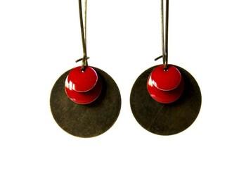 Earrings red Sequins