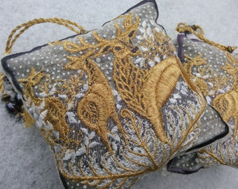 Embroidered, FOREST HART, Lavender Bag, Deer, Stag, Gold, Snow, White, gift for Host, Birthday, Christmas, Thanksgiving