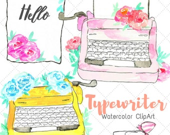 Watercolor Clip Art - Typewriter Clip Art - Floral Art - Hand drawn Art - Comemrcial Use - Vintage Typewriter