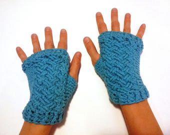 Cotton Woven Braided Crochet Cables Fingerless Armwarmers Gloves Wristwarmers Mitts Crocheted Vegan Blue