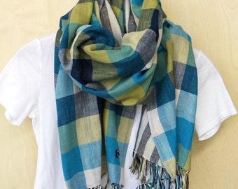 "Big check, Plaid Cotton, double gauze scarf, reversible shawl- kiwi green, sea blue, cream check / smokey indigo stripe  22"" wide"