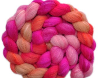 Hand painted combed top roving - Silk / Shetland wool 30/70% spinning fiber - 3.9 ounces - Pata Pata 1