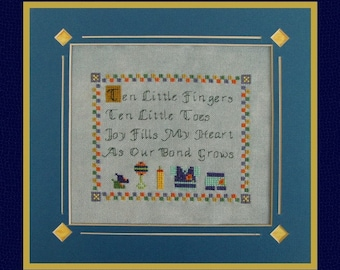 "Cross Stitch Instant Dowload PDF Pattern ""Little One"" Counted Embroidery Chart. Baby Design. Poem. Newborn. X Stitch."