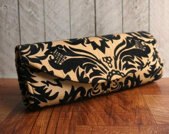 Taffeta clutch, velvet flocked purse, black and gold clutch, damask clutch purse