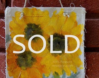 SOLD------------------------Flower Trio, Painting,  Sunflower, Daisy, Winjimir, Wall Decor,  Gift, Fun, Co worker, Teacher, Gift, Home Decor