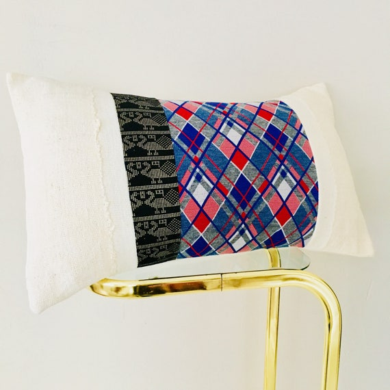 "Vintage Blue Argyle Pillow Cover 14""x24"" Lumbar Cushion Pillow Retro Red White Blue Striped Argyle Black Metallic Gold Tribal White Mudcloth"