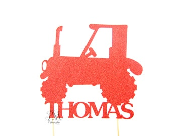 Custom Glitter Tractor Name Cake Topper - Boys Birthday Cake Topper, 1st Birthday, Tractor Birthday, Tractor Party, Farm Party