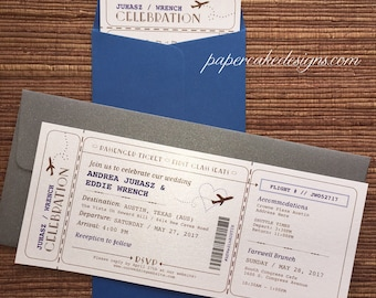 Airline Ticket Etsy - Wedding invitation templates: boarding pass wedding invitation template