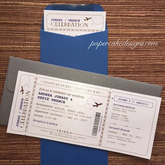 Plane Ticket Wedding Invitations: Boarding Pass Airline Ticket Invitation / DIY Printable PDF