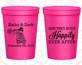 And They Rode Happily ever After, Custom Drink Cups, Tractor Cups, Barn Wedding Cups, logo cups (202)