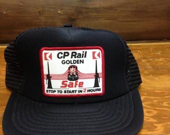 Retro CP Rail Golden BC Safety Trucker Hat Vintage 80s Rail BallCap SnapBack Cap