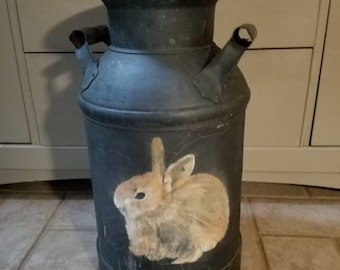 Black Milk Can Hand painted Bunny Rabbit Farmhouse