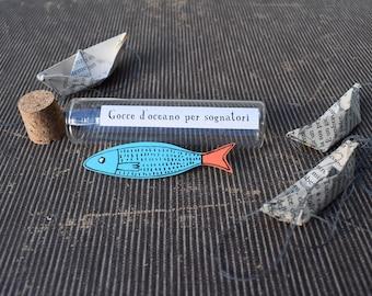 Blue Fish Brooch
