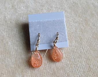 Sunstone Briolette Gold Filled Earrings 1218