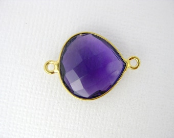 Gemstone Connector- Amethyst Station Drop Connector - 16mm Gold over Sterling Bezel Link - Double Bail Charm Pendant (GW-12)