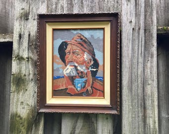 Vintage Needlepoint, The Fisherman, Completed and Framed