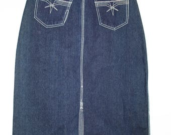 80's Gitano denim midi/pencil skirt