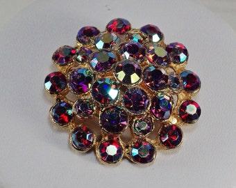 Vintage Red Aurora Borealis Brooch, Round Red Rhinestone Pin, Vintage Red Gold Dome Brooch, Red Rhinestone Cluster Pin, Red Brooch Under 25