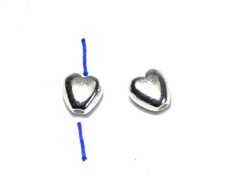 5 pc. Solid 925 Sterling Silver Puffed Heart Beads 5 mm - top to bottom hole