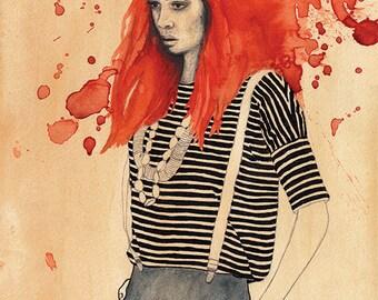 Redhead - Giclee Print A4 - Watercolour, tea & Graphite Illustration