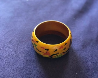 Yellow Wooden Bangle