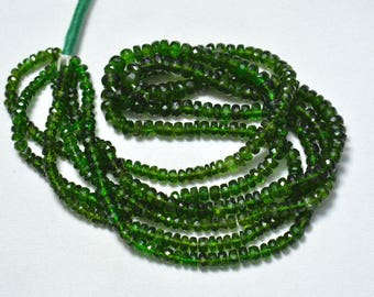 Green Chrome Diopside Rondelle Beads, 4mm - 6mm Chrome Faceted Rondelle Beads, Gemstone for Jewelry, 15 Inches Strand