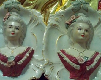 Two Stunning Vintage Antique Victorian Lady Bust Chantilly China Figurine Wall Plaques 328