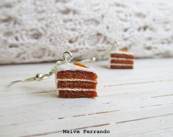 Carrot Cake Earrings, Cute Polymer Clay Food Jewelry, Accessories