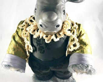 OOAK fine art doll: Baby Rhino in Satin and Velvet Baroque Costume