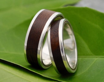 Lados Nacascolo Wood Ring with Recycled Sterling Silver - ecofriendly wood wedding band, wood wedding ring, mens wood ring, womens wood ring