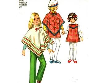 Girls Poncho Jumper Pants Pattern Simplicity 8944 Retro Sleeveless Dress, Scarf, Trousers Girls Size 7 Vintage Sewing Pattern