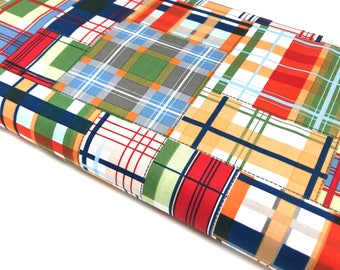Madras Fabric By The Yard, Michael Miller Fabric Patchwork Plaid, Cotton Plaid Designer Fabric, Quilting Fabric