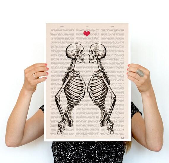 Wall art Skeleton Couple gift husband, gift 1st Aniversary, gift, wall decor skeletons gifts for him, wall art, SKA003PA3