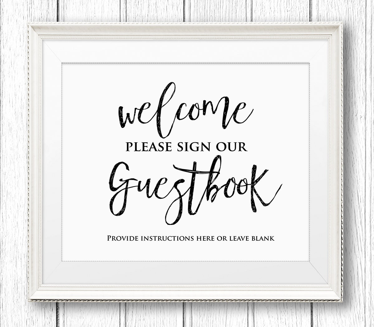 printable wedding guestbook. wedding guest book sign greenery guest ...