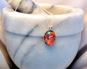 Sterling Silver Necklace- Fire Opal Glass Necklace- Fire Opal Jewellery- Fire Opal Jewelry- Fire Opal Pendant- Birthday Gift- Handmade- N65