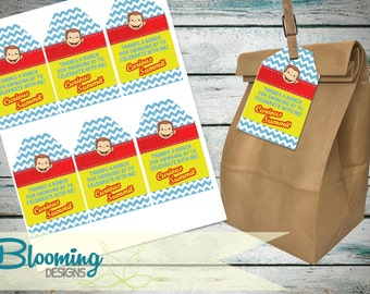 Curious George  Thank You Favor Tags - PRINT YOURSELF Digital File