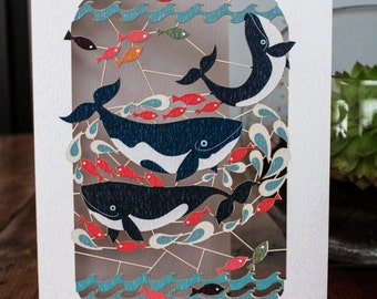 Three Whales Greeting Card - luxury laser cut-out -made in England
