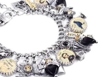 Edgar Allan Poe Jewelry, Poe Jewelry, Edgar Allen Poe Bracelet, Poe Charm Bracelet, Edgar A. Poe, Author Jewelry, Gothic Jewelry