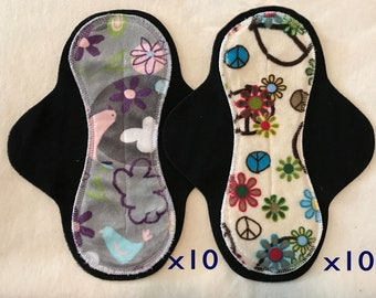 20-pack cloth pad making kit, unfinished, hourglass medium flow, Serendipity and Flower Child